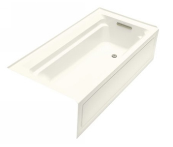 Kohler K1125RABI Archer 6' Bath With Comfort Depth Design Integral Apron And Right-Hand Drain - Biscuit