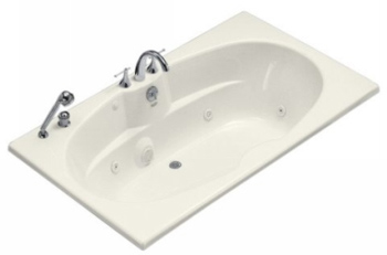 Kohler K-1131-96 Proflex 6 Foot Drop In/Alcove Jetted Tub with Center Drain - Biscuit