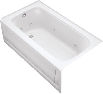 Kohler K-1151-HL-0 Bancroft 5' Whirlpool With Integral Apron In-Line Heater And Left Hand Drain - White