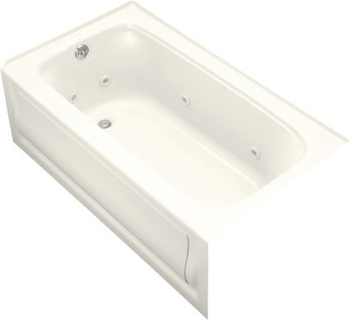 Kohler K-1151-HL-96 Bancroft 5 Foot Three Wall Alcove Jetted Tub with Left Hand Drain - Biscuit