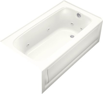 Kohler K-1151-HR-0 Bancroft 5 Foot Three Wall Alcove Jetted Tub with Right Hand Drain - White