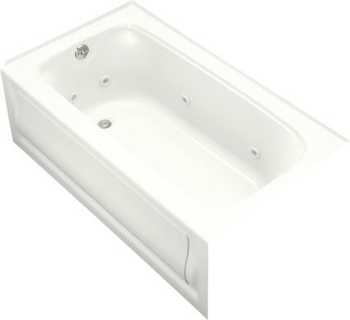 Kohler K-1151-LA-0 Bancroft 5' Whirlpool With Integral Apron and Left Hand Drain - White