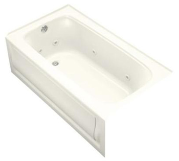 Kohler K-1151-LA-96 Bancroft 5' Whirlpool With Integral Apron and Left Hand Drain - Biscuit