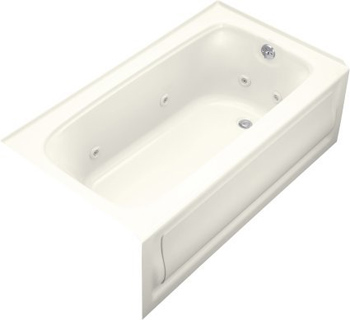 Kohler K-1151-RA-96 Bancroft 5' Whirlpool With Integral Apron and Right Hand Drain - Biscuit