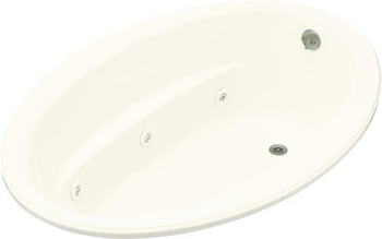 Kohler K-1162-H-96 Sunward 5' Oval Whirlpool With In-Line Heater - Biscuit