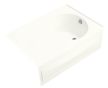Kohler K-1193-RA-0 Synchrony 5' Bath With Integral Apron And Right-Hand Drain Less Softgrip Grip Handles - White