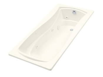 Kohler K-1257-96 Mariposa 6 Foot Drop In Jetted Tub with Left Hand Drain - Biscuit