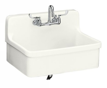 Kohler K-12700-0 Gilford 30 x 22 Apron-Front Wall-Mount/Self-Rimming Kitchen Sink - White (Faucet Not Included)
