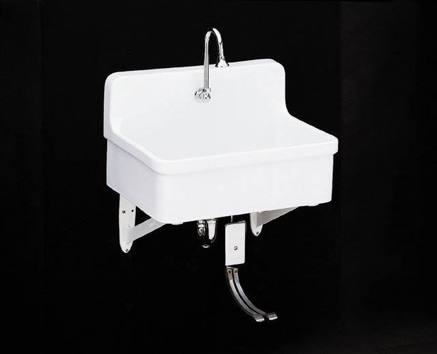 Kohler K 12781 0 Gilford Scrub Up Plaster Sink White