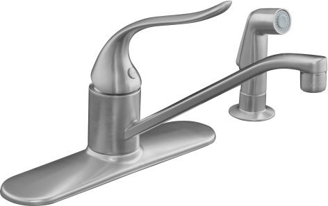 Kohler K-15172-F-G Coralais Single Handle Kitchen Faucet with Sidespray - Brushed Chrome