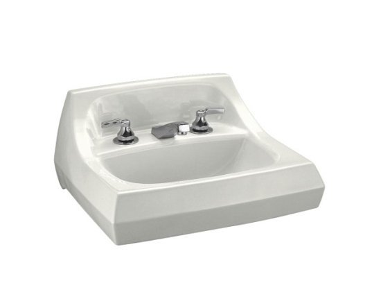 Kohler K-2005-0 Kingston 21 in Wall Mounted Lavatory Sink with 4 in Centers - White (Faucet Not Included)