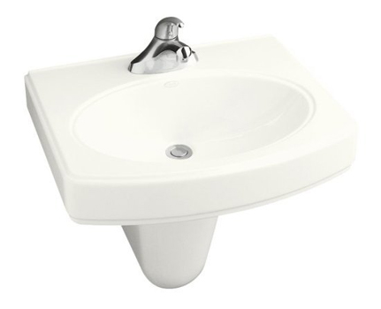 Kohler K-2035-4-0 Pinoir Wall-Mount Lavatory With 4'' Centers - White