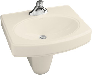 Kohler K-2035-4-47 Pinoir Wall-Mount Lavatory With 4'' Centers - Almond
