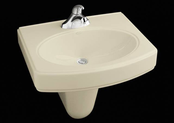 Kohler K-2035-4-96 Pinoir Wall-Mount Lavatory With 4'' Centers - Biscuit
