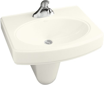 Kohler K-2035-8-0 Pinoir Wall-Mount Lavatory With 8'' Centers - White (Pictured in Biscuit)