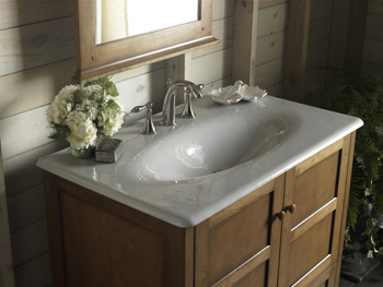 Kohler K 3051 8 0 Iron Impressions Cast Iron Vanity Top White Faucet And Accessories Not
