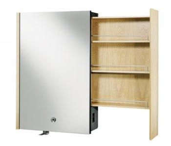 Kohler K-3092-F5 Purist Mirrored Cabinet With Laminar Flow Faucet and Right Side Slide-Out Shelving - White Oak