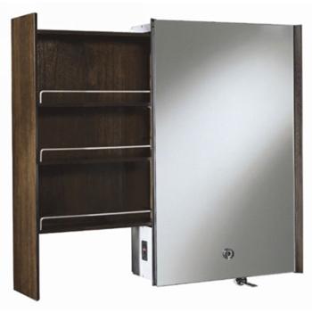 Kohler K-3093-F4 Purist Mirrored Cabinet With Laminar Flow Faucet and Left Side Slide-Out Shelf - Black Walnut
