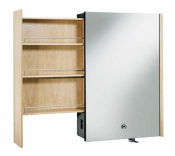 Kohler K-3093-F5 Purist Mirrored Cabinet With Laminar Flow Faucet and Left Side Slide-Out Shelf - White Oak