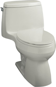 Kohler K-3323-7 Santa Rosa Compact Elongated Toilet With Seat, Cover and Left-Hand Trip Lever - Black (Pictured in Ice Grey)