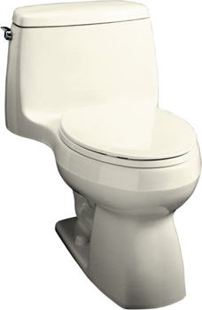 Kohler K-3323-96 Santa Rosa Compact Elongated Toilet With Seat, Cover and Left-Hand Trip Lever - Biscuit