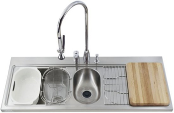Kohler K-3326R-3 Pro Taskcenter Double Basin Kitchen Sink - Stainless Steel (Faucet Not Included)