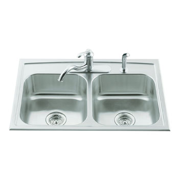 Kohler K-3346-4 Toccata Self-Rimming Kitchen Sink- Equal Basins With 4 Hole Faucet Punching - Stainless Steel