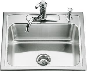 Kohler K-3348-3 Toccata Single Basin Self-Rimming Kitchen Sink - Stainless Steel