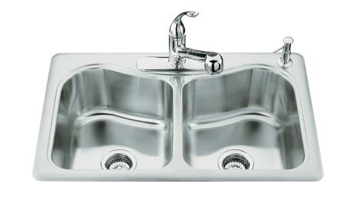 Kohler K-3369-1 Staccato Double-Basin Self-Rimming Kitchen Sink With Single-Hole Faucet Punching
