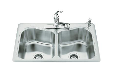 Kohler K-3369-3 Staccato Double-Basin Self-Rimming Kitchen Sink With Three-Hole Faucet Punching