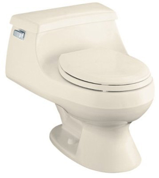 Kohler K-3386-47 Rialto One-piece Round-Front Toilet With Seat And Left-Hand Trip Lever - Almond