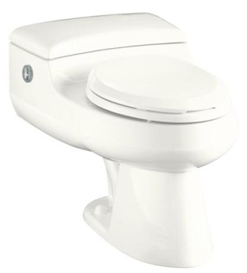 Kohler K-3393-7 San Raphael Comfort Height Elongated One-Piece Toilet with Power Lite Flushing Technology - Black (Pictured in White)