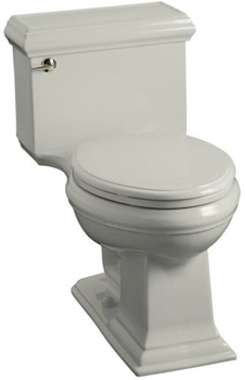 Kohler K-3451-95 Memoirs Comfort Height Elongated Toilet with Classic Design and Glenbury Quiet-Close Toilet Seat - Ice Grey