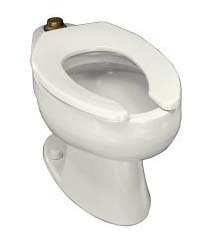 Kohler K-4350-0 Wellcomme Elongated Toilet Bowl With Top Spud - White (Seat Not Included)