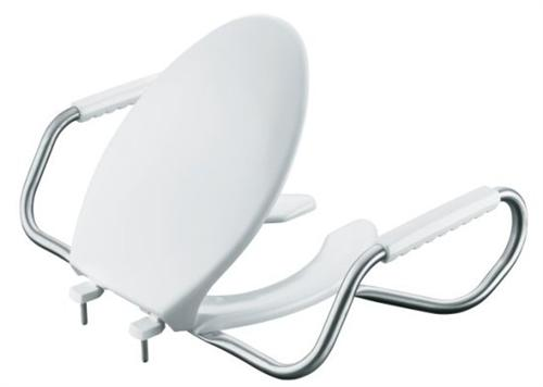 Kohler K-4654-A-0 Lustra Elongated Open-Front Toilet Seat with Antimicrobial Agent and Support Arms - White