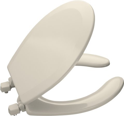 Kohler K-4660-47 Lustra Solid Plastic Round Open-Front Toilet Seat - Almond