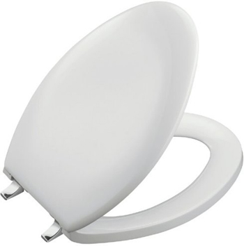 Kohler K-4685-BN-0 Bancroft Toilet Seat With Brushed Nickel Hinges - White