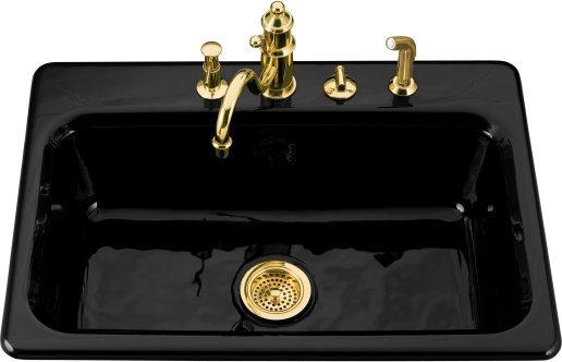 kohler k 5832 3 7 bakersfield single basin cast iron kitchen sink rh faucetdepot com kohler black cast iron kitchen sink