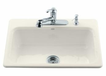 Kohler K 5832 3 96 Bakersfield Single Basin Cast Iron Kitchen Sink Biscuit