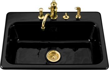 Kohler K 5832 4 7 Bakersfield Cast Iron Self Kitchen Sink With Hole Faucet Drilling Black