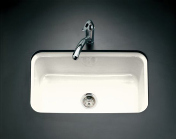 Kohler K-5832-5U-FF Bakersfield Undercounter Single Basin Kitchen Sink - Sea Salt (Pictured in Biscuit)