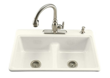 Kohler K-5838-4-96 Deerfield Double Basin Smart Divide Cast Iron Kitchen Sink - Biscuit (Faucet and Accessories Not Included)