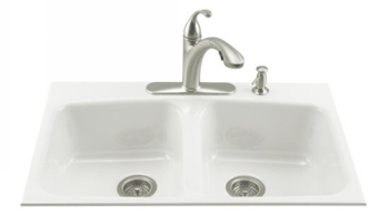 Kohler K-5898-4-0 Brookfield Tile-In Kitchen Sink - White
