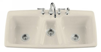Kohler K-5914-4-47 Trieste Self-Rimming Kitchen Sink - Almond