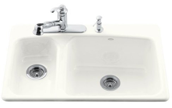 Kohler K-5924-4-0 Lakefield Self-Rimming Kitchen Sink With Four-Hole Faucet Drilling - White (Faucet and Accessories Not Included)