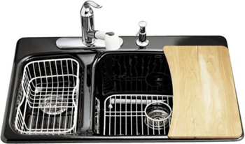 Kohler K-5924-4-7 Lakefield Self-Rimming Kitchen Sink With Four-Hole Faucet Drilling - Black (Faucet and Accessories Not Included)