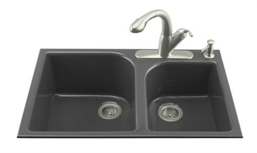 Kohler-K-5931-4-7-Executive-Chef-Double-Basin-Cast-Iron-Kitchen-Sink---Black-(Faucet-and-Accessories-Not-Included)