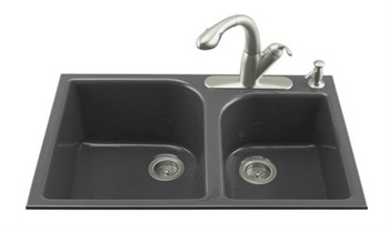 Kohler K-5931-4-7 Executive Chef Double Basin Cast Iron Kitchen Sink - Black (Faucet and Accessories Not Included)