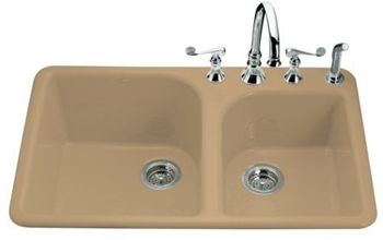 Kohler K-5932-4-33 Executive Chef Self-Rimming Kitchen Sink - Mexican Sand (Faucet and Accessories Not Included)