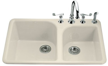 Kohler K-5932-4-47 Executive Chef Self-Rimming Kitchen Sink With Four-Hole Faucet Drilling - Almond (Faucet and Accessories Not Included)